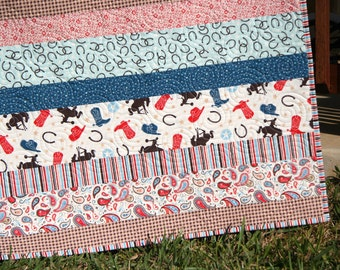SALE Cowboy Western Quilt, Gender Neutral Blanket, Red Blue Brown, Horseshoes Boots Bucking horse Paisley, Boy or Girl Crib Bedding