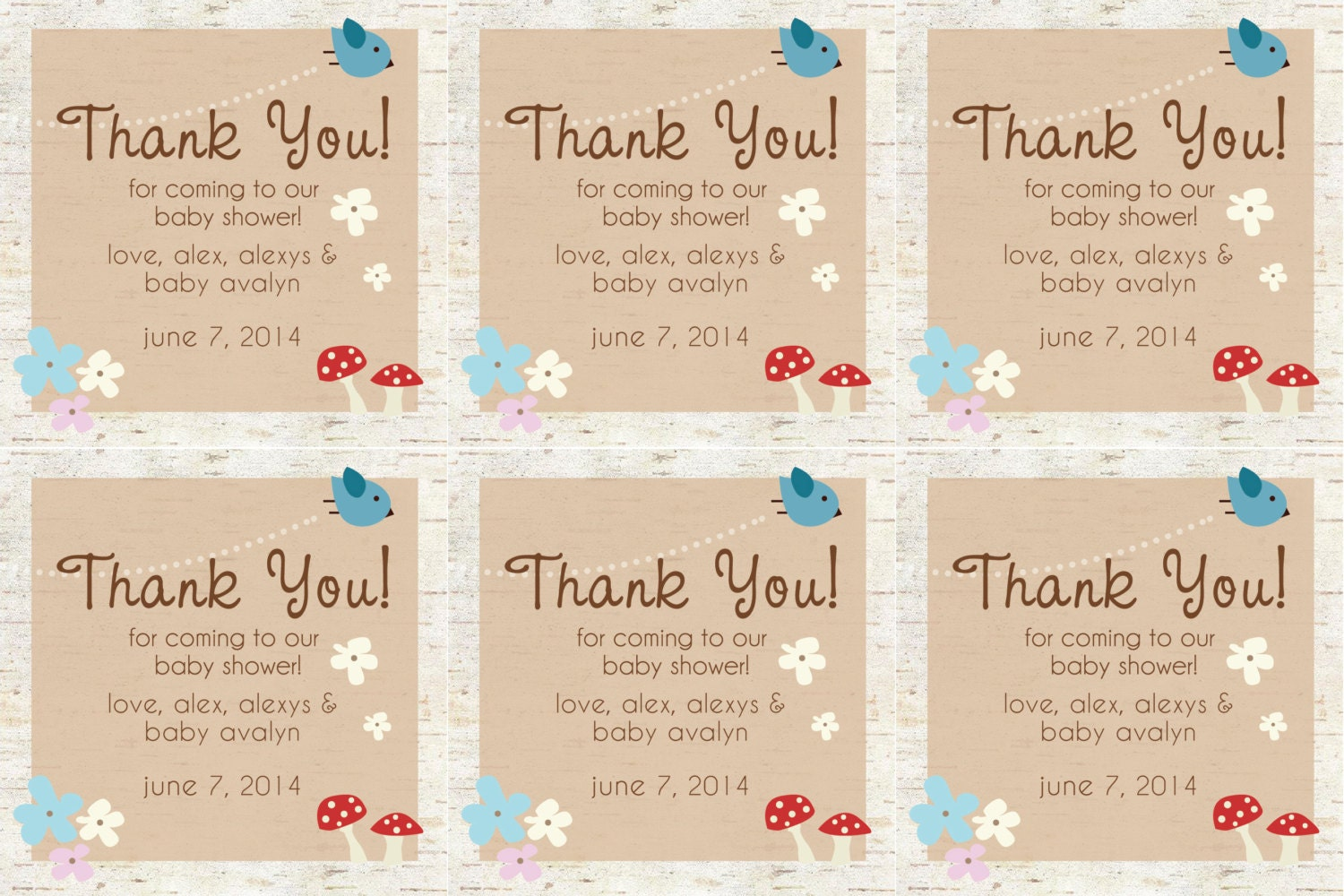 woodland baby shower favor tags piy