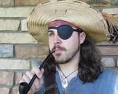 Pirate Eye Patch - Black Leather, Hand Sewn - One Size - OOAK - Pirate/Steampunk/Villain/Warrior/Renaissance/Medieval/LARP