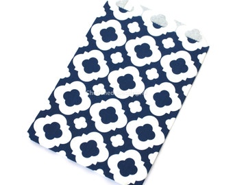 Wedding Favor Bags, Vintage Style Wedding Favors, Navy Blue, 20 Candy Buffet Bags, Baby Shower, Quatrefoil Bags, Favors, Kids Party Popcorn