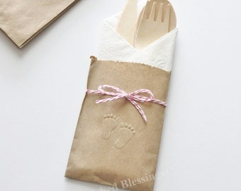 Table Settings Baby Shower 10 Flatware Bags Wood Utensils Cutlery Rustic Birthday Party Baby Shower Favors Foot Prints Embossed Paper Goods