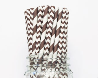 Paper Straws, Brown Stripe Chevron Paper Straws, Chocolate Brown Vintage Wedding Table Setting Baby Shower, Kids Birthday Party Straws, USA