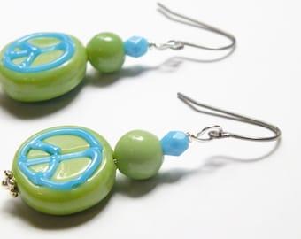 Peace Earrings, Blue and Green Lampwork Earrings, Surgical Steel Earrings, Green Earrings, Blue Earrings, Boho Earrings