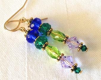 Long Blue Green Lavender Crystal Earrings in Gold
