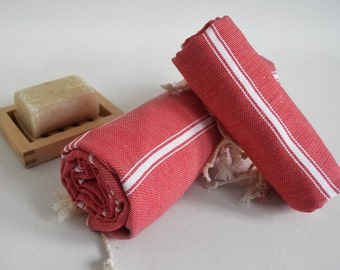 SALE 50 OFF/ SET Hand and Beach Towel / Classic Peshtemal / Red / Wedding Gift, Spa, Swim, Pool Towels and Pareo