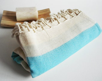 Shipping with FedEx - Turkish BATH Towel Peshtemal - Linen - Blue - Beach, Spa, Swim, Pool Towels and Pareo