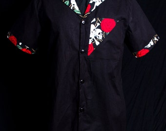 The VERY LAST Accent Skull & Roses Black limited-edition ultra-high quality women's shirt or dress