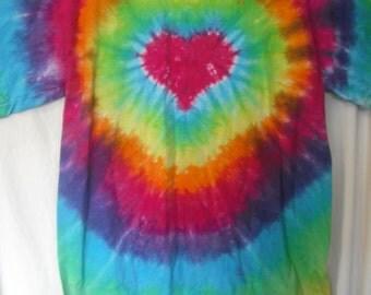 Tie dye heart tee adult sizes