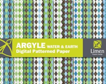 Digital Argyle Scrapbook Paper, Argyle Digital Paper Pack, Argyle Background, Patterned Paper, Argyle Paper, Argyle Pattern, Diamond Paper