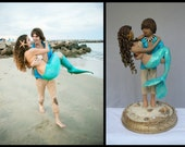 Mermaid and Beach Boy Wedding Cake Topper customized to your features Hand Sculpted in Clay