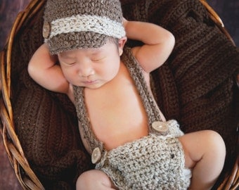 Newborn Crochet Hat, Diaper Cover and Suspenders