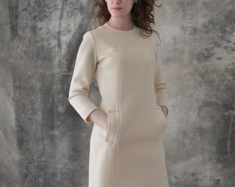 1960s Mod Cream Knit Dress