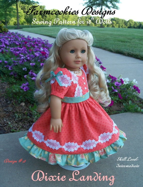 PRINTED Sewing Pattern / DIXIE LANDING / Mid-1800's Gown for American Girl Marie Grace, Addy, Kirsten or Cecile
