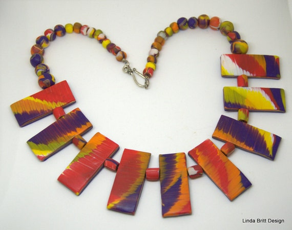 Polymer Necklace - 'Ring of Fire' - Statement Necklace - Red Fire Colors