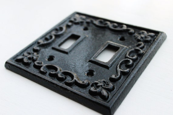 Black double light switch cover plate cast iron fleur de - Wrought iron switch plate covers ...