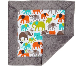 Baby Security Blanket, Lovey Blanket, Minky Lovey, Lovey for baby, Elephant baby blanket, Elephant baby gift, Elephant baby shower