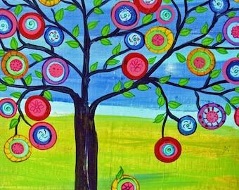 Print of Tree of Life Mexican Folk Art Style Happy Tree   Penny Tree