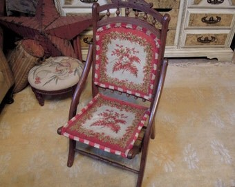 Antique Victorian Folding Chair Hand Tied Carpet Wood