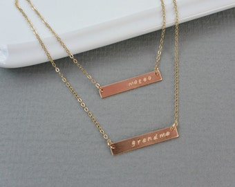 Two Personalized GOLD Bar Necklaces,  Name Necklace Set of Two, Layering Necklace Set, Bar initial Necklace, Monogram Nameplate Jewelry