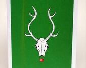 Reindeer skull christmas card