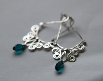 Sterling silver filigree  earrings with blue glass beads