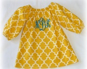 Custom Boutique Clothing Girls Monogram Mustard Yellow Lattice Peasant Dress size 3mos to 8yr