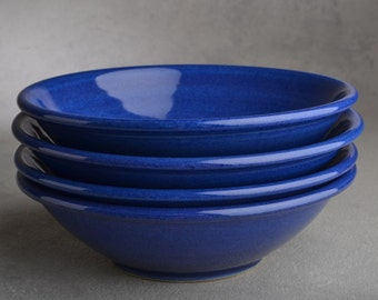 Soup Bowl Set Four Blue Surf Stoneware Soup Bowsl by Symmetrical Pottery