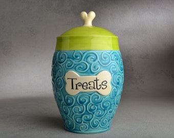 Dog Treat Jar Made To Order Blue Green Curls Dog Treat Jar by Symmetrical Pottery