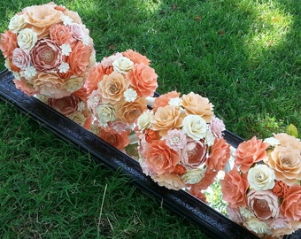 Paper Bouquet - Paper Flower Bouquet - Wedding Bouquet - Peach and Salmon with Orange - Custom Made - Any Color