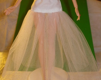 Fashion Doll Coordinates - White cotton drop waist long Tulle net slip - LSW