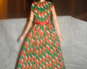 Holiday formal dress in red, green & white striped candy print for Fashion Dolls - ed463