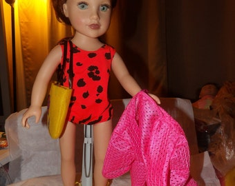 Orange & black swimsuit, pink cover-up, yellow tote bag and yellow sandals for 18 inch Dolls - ag229