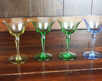Vintage Martini Glasses -Vintage Cordial Glasses - Vintage Barware