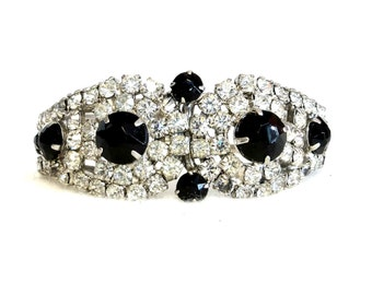 Vintage Juliana Bracelet Clamper Bangle Black White Rhinestones