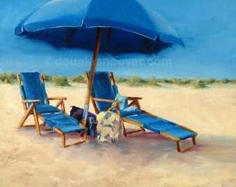 Vacation Blues - Oil Painting - 11x14in. Print