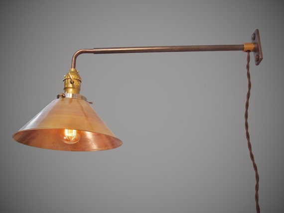 Wall Mounted Industrial Lamp : Industrial Lighting Vintage Steel Wall Mount Light Brass