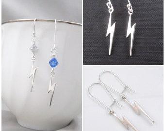 Sterling Silver Lightning Bolt Earrings, Birthstone Earrings, Weather Earrings, Storm Earrings, CUSTOM MESSAGE Gift Tag, Minimalist Earrings