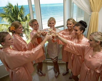 Bridesmaid Robes, CORAL, wedding robes, bridesmaid silk robe, dressing gown, personalized silk robe, kimono robes, floral robe, bridal robe