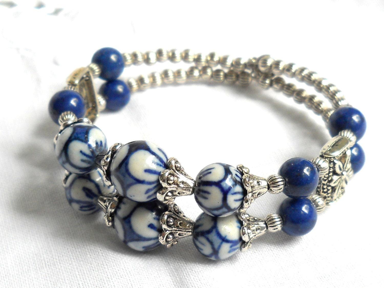 memory wire bracelet delft blue jewelry delft blue bracelet