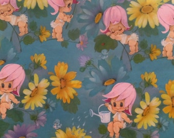 Vintage Anthropomorphic Flower Babies Baby Shower Gift Wrap Wrapping Paper