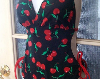 Retro look cherry monokini