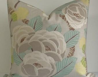 SALE Modern Floral gray aqua jade Decorative Designer Pillow Cover yellow lime Throw pillow accent pillow