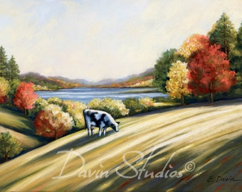 """Holstein Cow in a pasture, black and white holstein cow signed art print of original pastel painting called """"Just Grazin."""""""