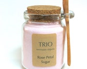 Pink Rose Petal Sugar- 8 oz  Glass Sugar Jar with Mini Wooden Spoon for Tea Parties, Coffee, Tea, Berries, Cider, Lemonade, Baking