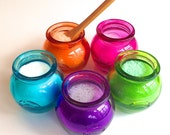 Flavored Sugar Sampler- Mini Honey Pot Jar Set with Mini Wood Spoon for Tea Parties, Coffee, Tea, Rimming Sugar, Favors, Lemonade, Berries