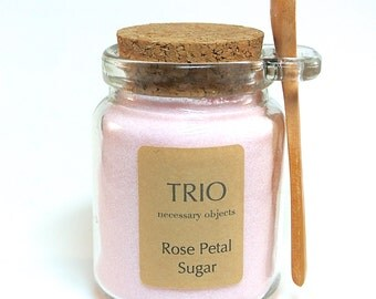Pink Rose Petal Sugar- 8 oz  Glass Sugar Jar with Mini Wooden Spoon for Tea Parties, Coffee, High Tea, Mad Hatter Tea Party, Rose Water