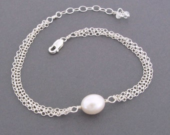 Single Pearl Bracelet, Simple Pearl Jewelry, Genuine Pearls and Sterling Silver Bracelet, Pretty White Freshwater Pearl, June Birthstone
