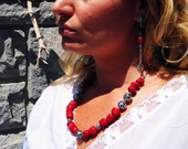 Red Coral Gemstone Necklace, 35th Wedding Anniversary Gift, Beach Wedding Necklace, Summer Statement Necklace, Cherry Red Bohemian Jewelry