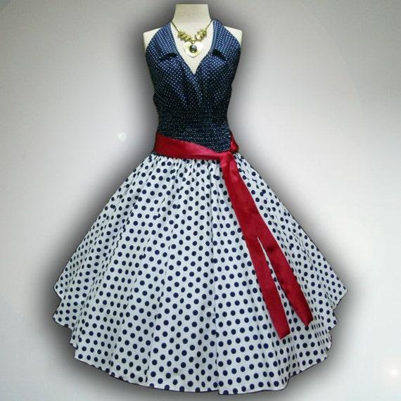 Retro Blue & White Polka Dot 50s Pin up Rockabilly Swing Dress Full Swing Skirt size S-M