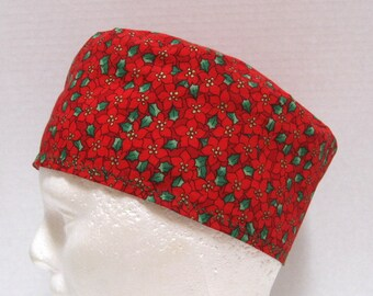 Unisex Christmas Scrub Cap or Surgical Cap Red Poinsettias and Holly
